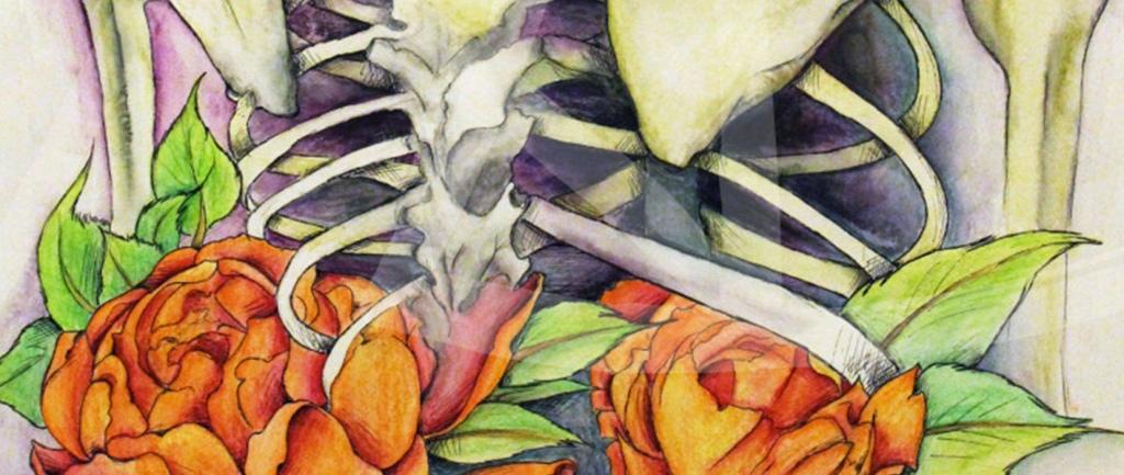 Skeleton and peonies watercolor